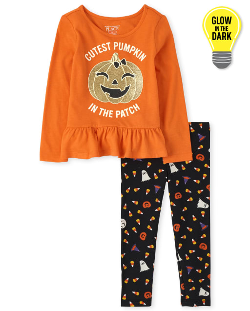Toddler Girls Halloween Long Sleeve Peplum Top And Printed Leggings Glow In The Dark Outfit Set