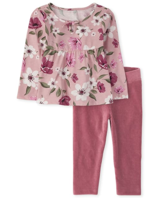 Toddler Girls Long Sleeve Floral Top And Velvet Leggings Outfit Set