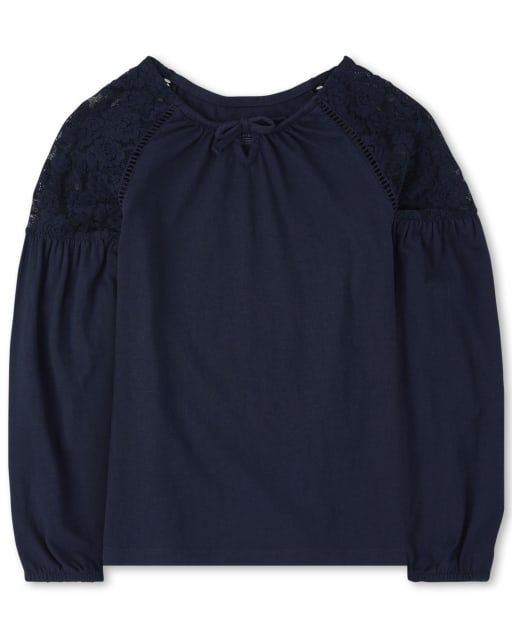 Girls Long Sleeve Lace Peasant Top