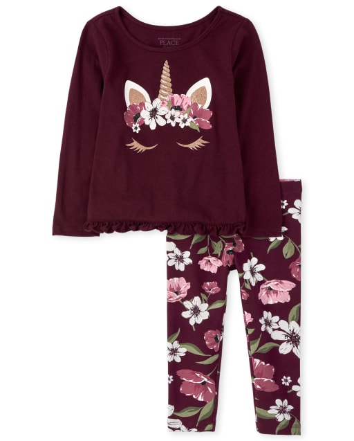 Toddler Girls Long Sleeve Floral Unicorn Top And Leggings Outfit Set