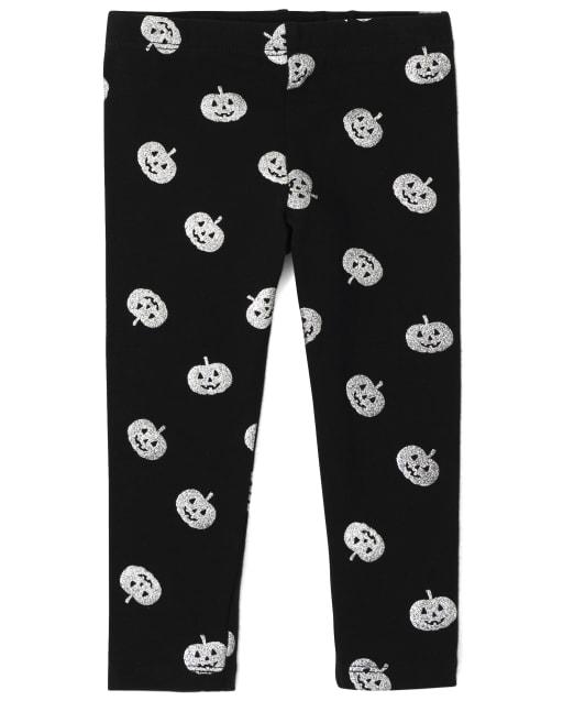 Baby And Toddler Girls Halloween Glitter Pumpkin Print Knit Leggings