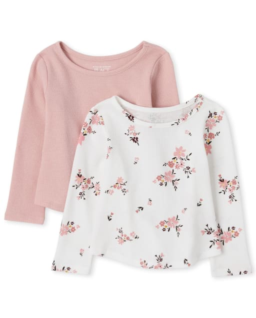 Toddler Girls Long Sleeve Solid And Floral Print Thermal Top 2-Pack