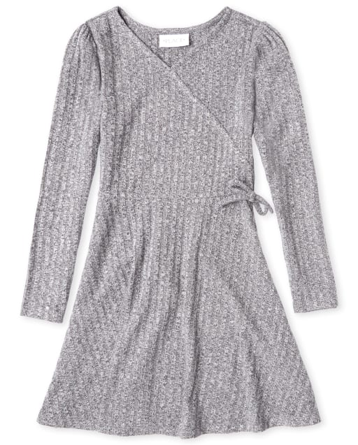 Girls Long Sleeve Lightweight Sweater Knit Faux Wrap Dress