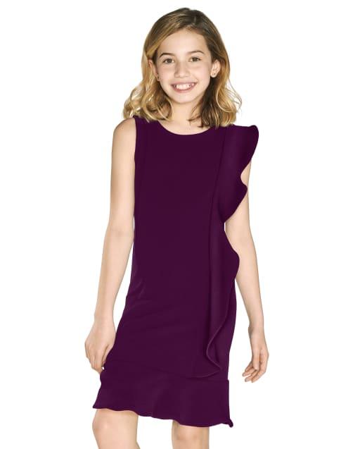 Girls Sleeveless Stretch Jacquard Knit Ruffle Dress