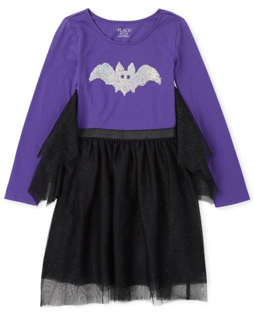 Girls Halloween Long Sleeve Flip Sequin Bat Graphic Knit To Woven Dress