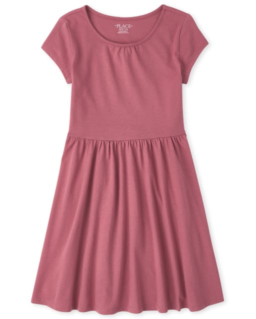 Girls Short Sleeve Knit Essential Skater Dress