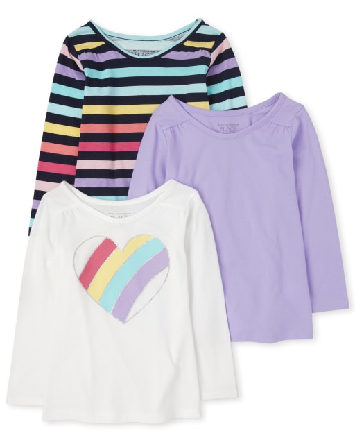 Toddler Girls Long Sleeve Rainbow Heart, Striped And Solid Top 3-Pack