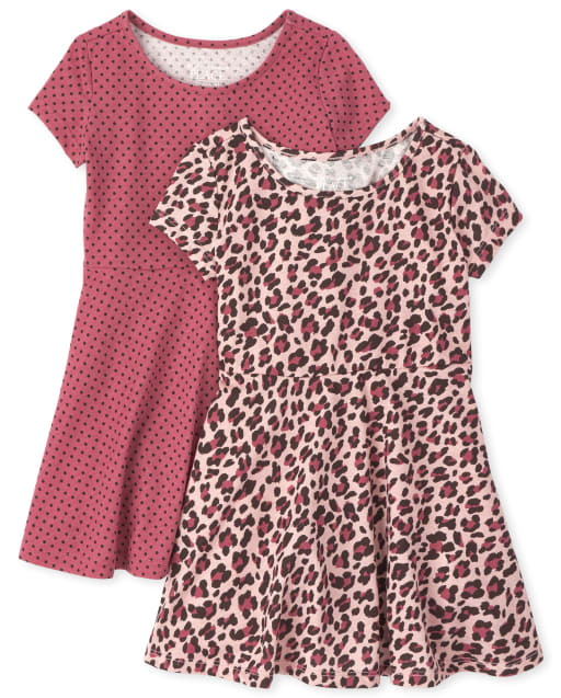 Baby And Toddler Girls Short Sleeve Leopard And Dot Print Knit Skater Dress 2-Pack