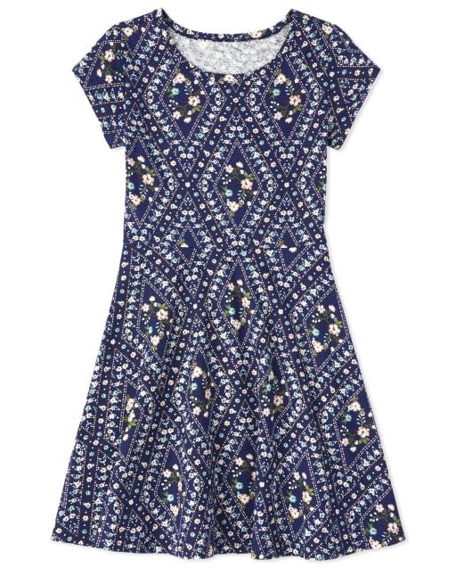 Girls Short Sleeve Floral Knit Skater Dress