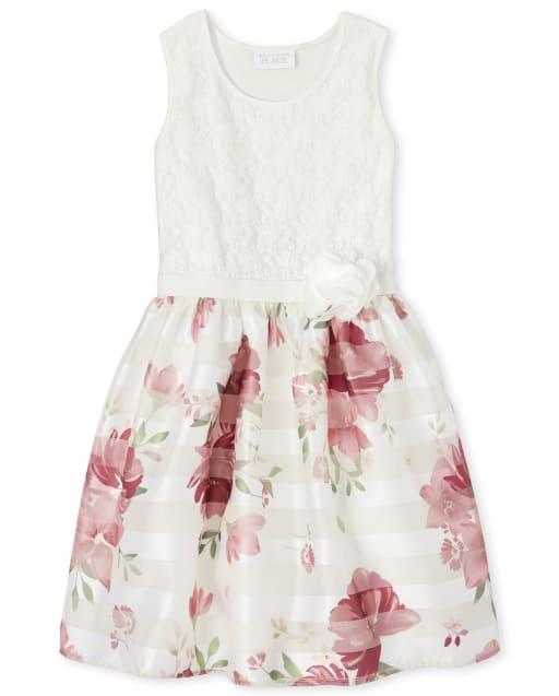 Vestido Niña Sin Mangas De Encaje Y Punto Floral A Tejido