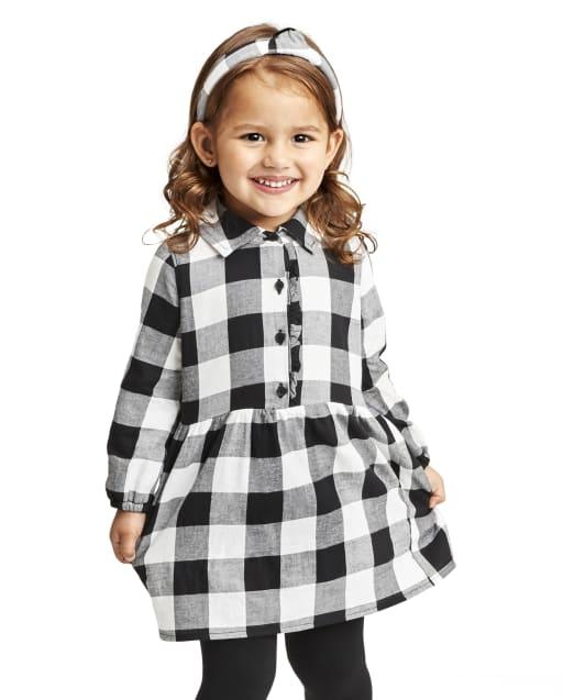 Vestido camisero a cuadros estilo búfalo a juego para niñas pequeñas
