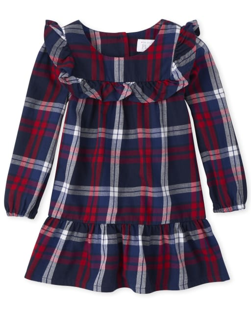 Toddler Girls Matching Family Long Sleeve Plaid Twill Shift Dress