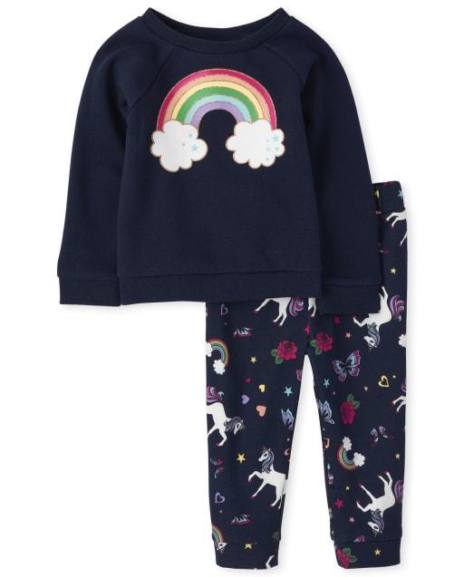 Conjunto de sudadera arcoíris de manga larga y pantalones jogger con estampado de unicornio para niñas pequeñas