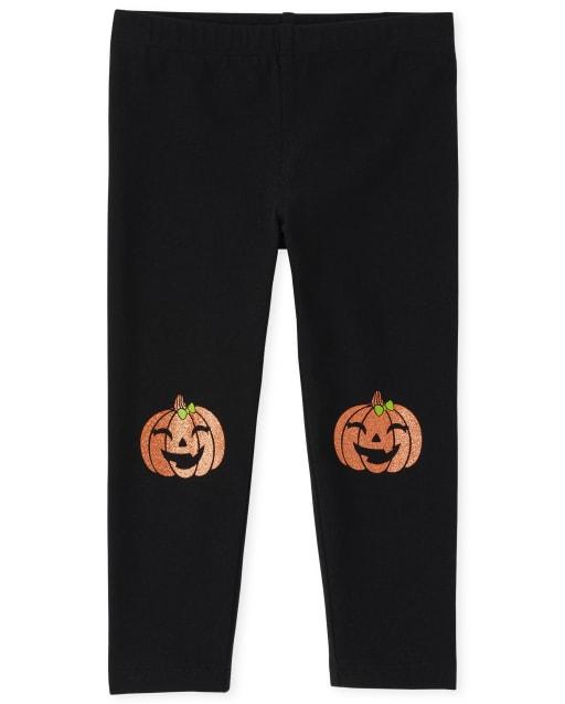 Baby And Toddler Girls Halloween Pumpkin Knit Leggings