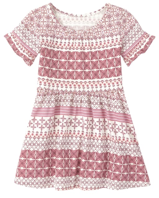 Baby And Toddler Girls Short Sleeve Print Knit Ruffle Dress