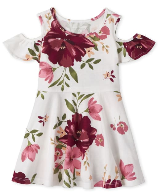 Baby And Toddler Girls Short Sleeve Floral Print Knit Cold Shoulder Skater Dress