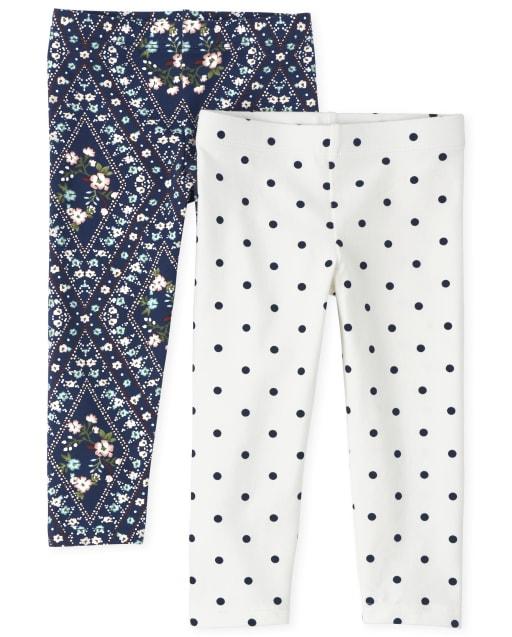 Toddler Girls Floral Knit Leggings 2-Pack