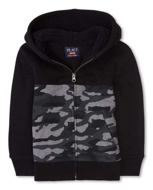 Boys Long Sleeve Camo Sherpa Lined Fleece Zip Up Hoodie