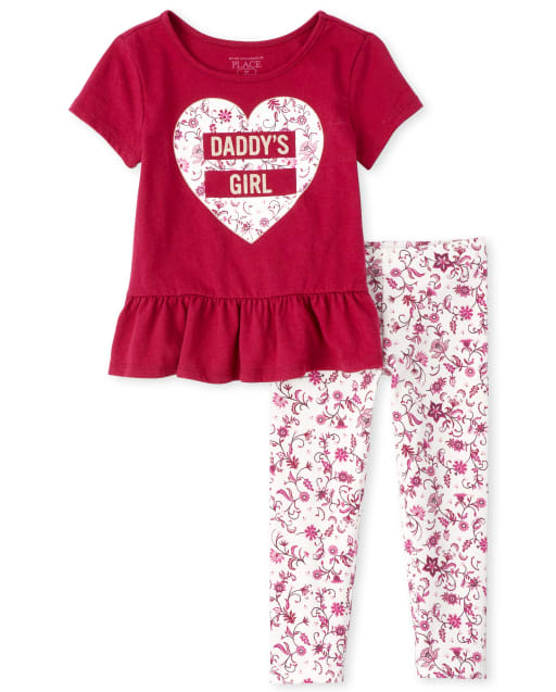 Toddler Girls Short Sleeve Floral Top And Leggings Outfit Set