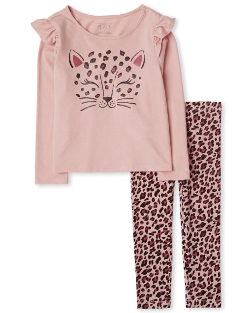 Toddler Girls Long Sleeve Leopard Top And Leggings Outfit Set