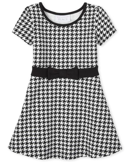 Vestido de punto Ponte de pata de gallo de manga corta para bebés y niñas pequeñas