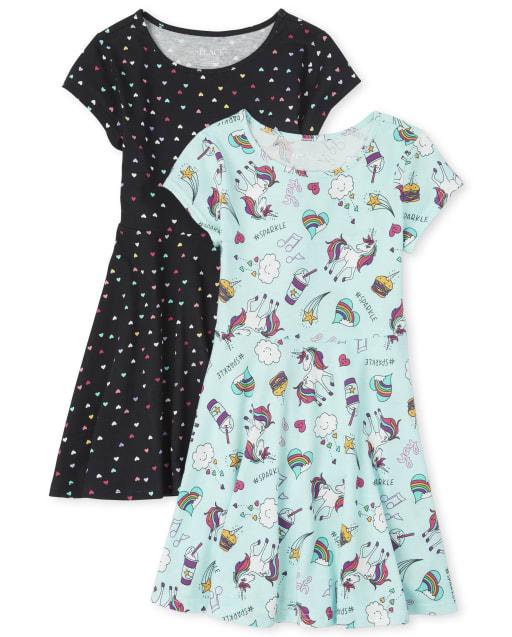 Girls Short Sleeve Knit Essential Skater Dress 2-Pack