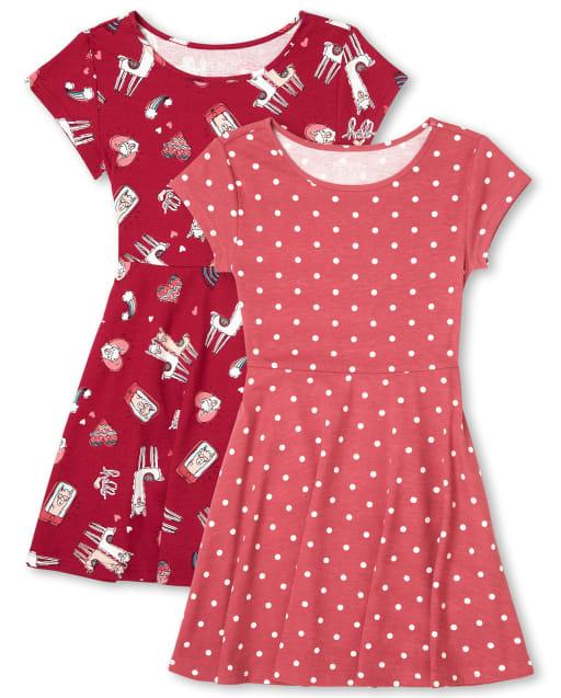 Girls Short Sleeve Print Knit Skater Dress 2-Pack