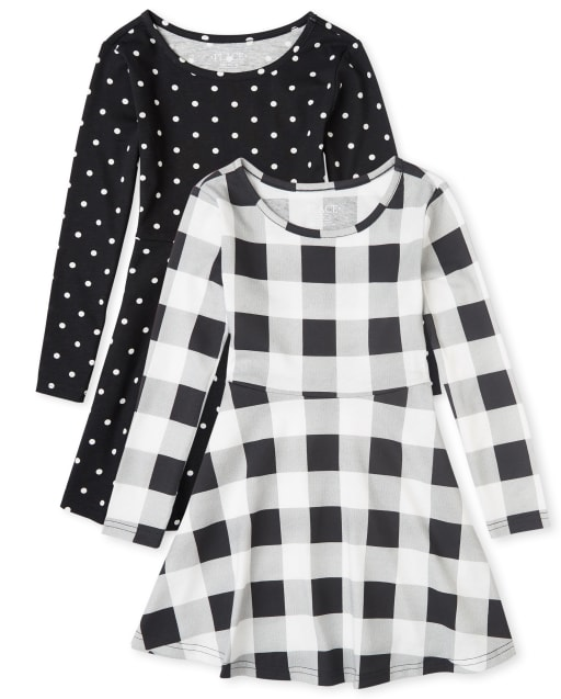Girls Long Sleeve Buffalo Plaid And Dot Print Knit Skater Dress 2-Pack