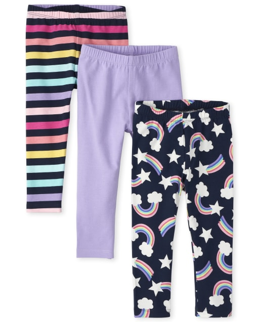 Toddler Girls Rainbow, Solid And Striped Leggings 3-Pack