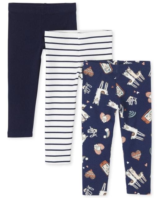 Toddler Girls Llama Striped Knit Leggings 3-Pack