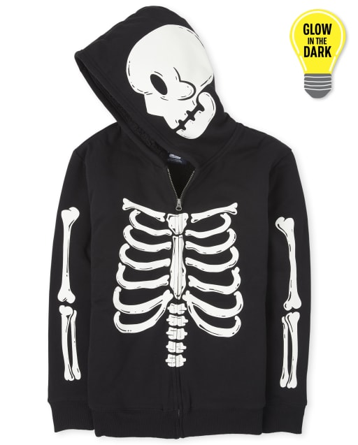 Unisex Adult Matching Family Halloween Long Sleeve Glow In The Dark Skeleton Sherpa Zip Up Hoodie