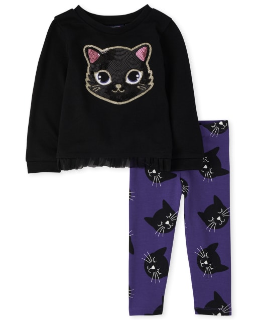 Toddler Girls Halloween Long Sleeve Glitter Cat French Terry Sweatshirt And Leggings Outfit Set