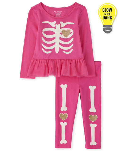 Toddler Girls Halloween Long Sleeve Glow In The Dark Skeleton Top And Leggings Outfit Set