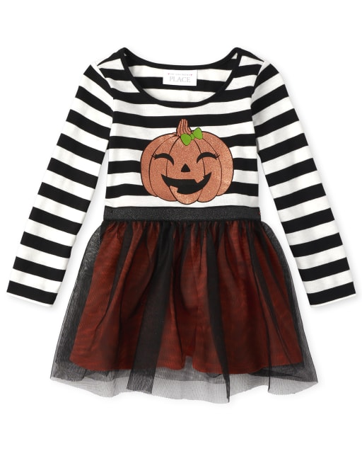 Baby And Toddler Girls Halloween Long Sleeve Striped And Glitter Pumpkin Knit To Woven Dress