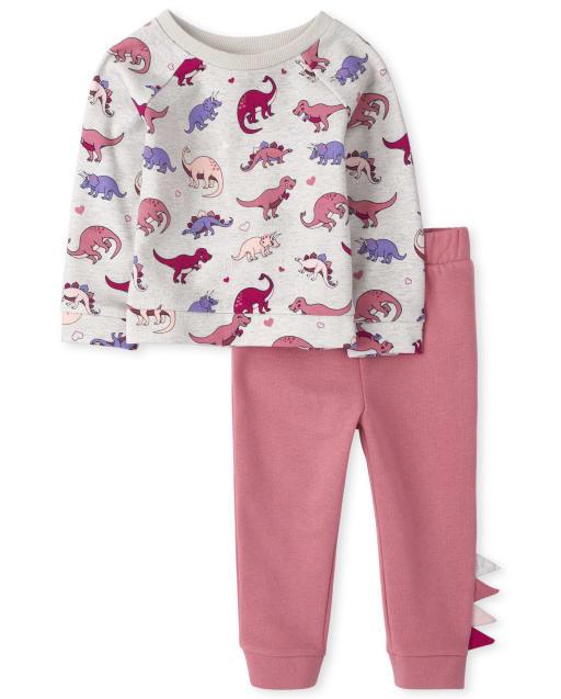 Toddler Girls Long Sleeve Dino Print Sweatshirt And Dino Jogger Pants Outfit Set