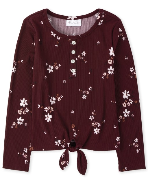 Girls Long Sleeve Floral Tie Front Henley Top