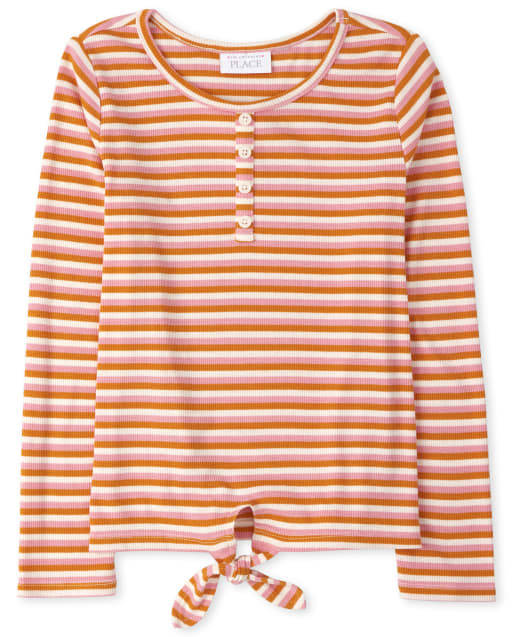 Girls Long Sleeve Striped Tie Front Henley Top