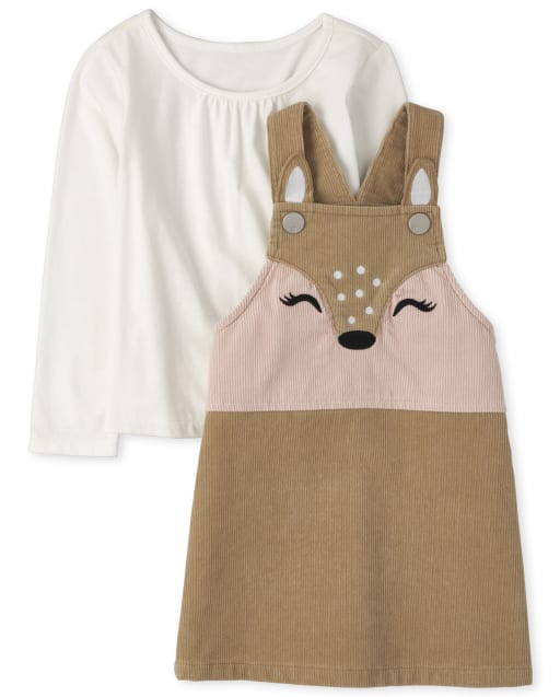 Toddler Girls Long Sleeve Top And Deer Skirtall Outfit Set