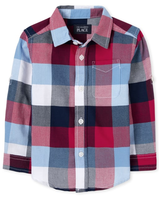 Baby And Toddler Boys Long Roll Up Sleeve Check Print Oxford Button Down Shirt