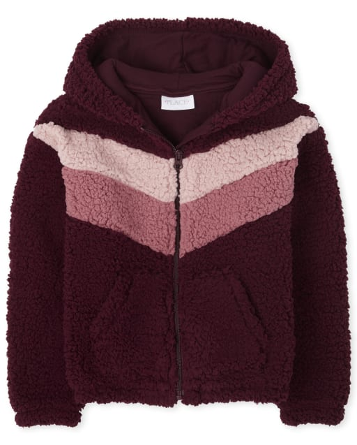 Girls Long Sleeve Chevron Sherpa Zip Up Hoodie