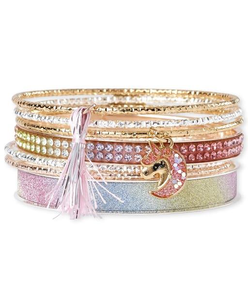 Girls Unicorn Bangle Bracelet 7-Pack