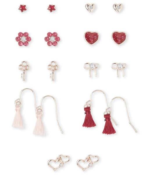 Girls Tassel Heart Earrings 9-Pack