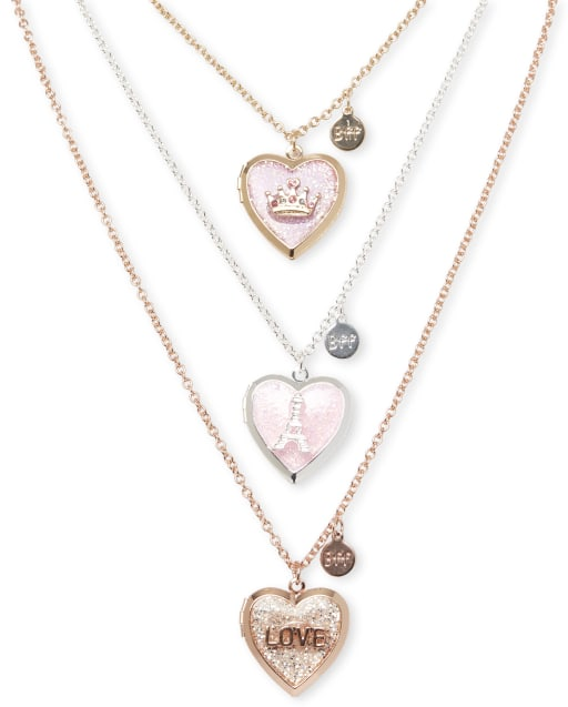 Girls Heart Locket Necklace 3-Pack