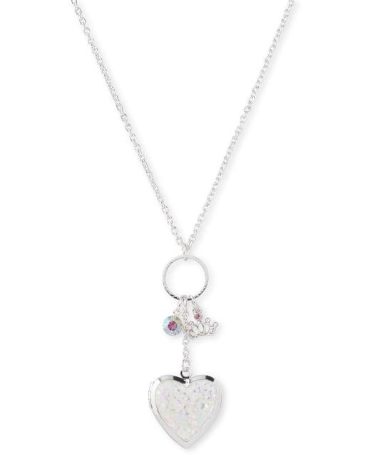 Girls Heart Locket Cluster Necklace