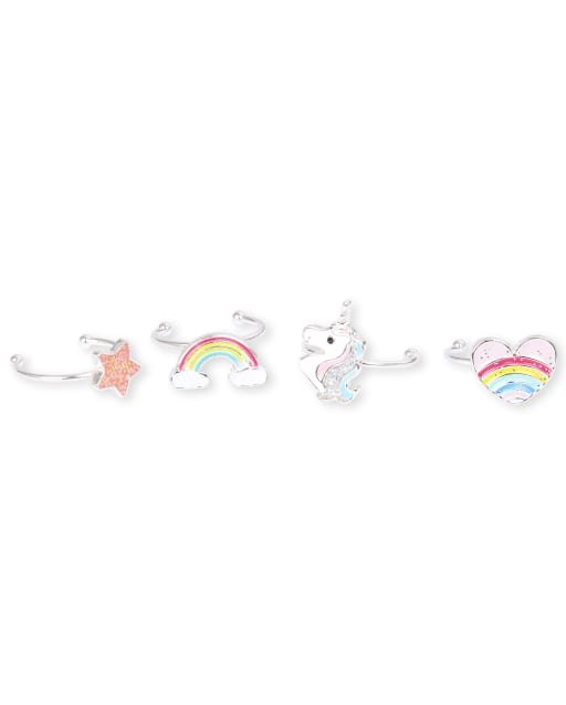Girls Rainbow Ring 4-Pack