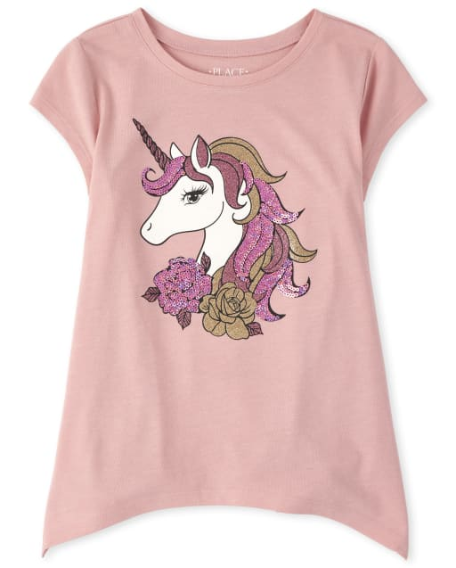 Girls Short Sleeve Unicorn Hanky Hem Legging Top