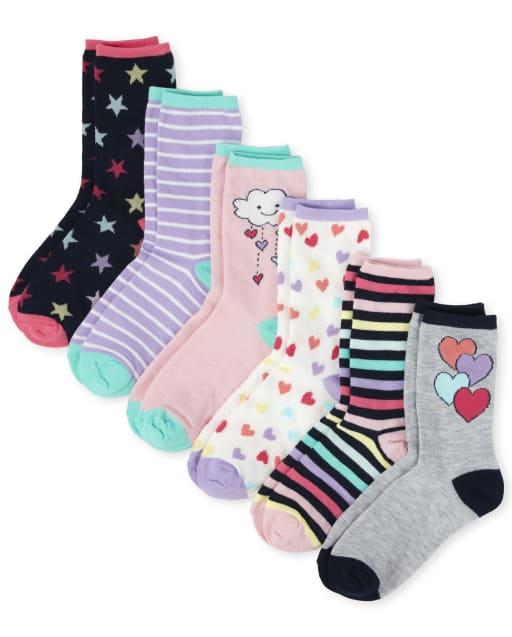 Girls Heart Crew Socks 6-Pack