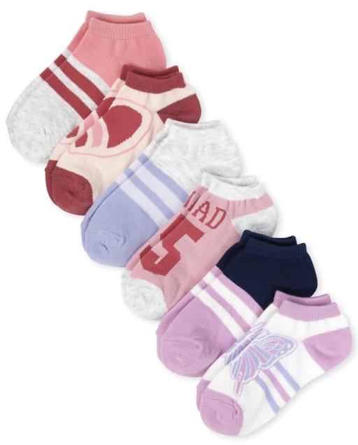 Girls Butterfly Ankle Socks 6-Pack