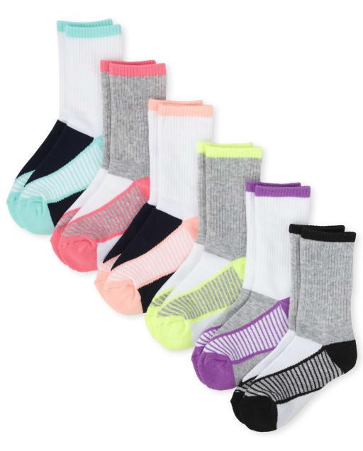 Girls Athletic Crew Socks 6-Pack