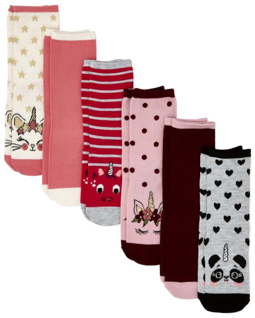 Girls Crittercorn Crew Socks 6-Pack